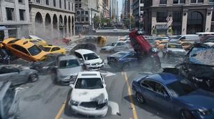 La scène des voitures zombies.