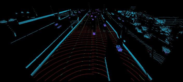 La vision du Lidar permet de modéliser l'environnement de l'auto sur la route.