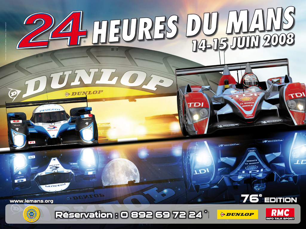 24 heures du mans 2008 l 39 affiche officielle. Black Bedroom Furniture Sets. Home Design Ideas