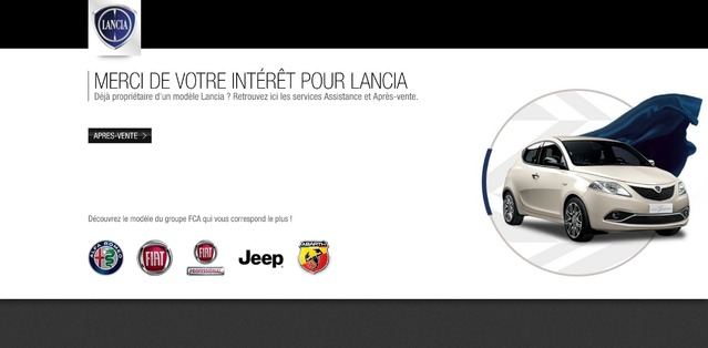 Lancia : fermeture des sites internet, sauf en Italie