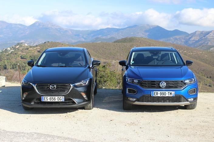 Comparatif vidéo – Mazda CX-3 vs Volkswagen T-Roc : outsider contre blockbuster