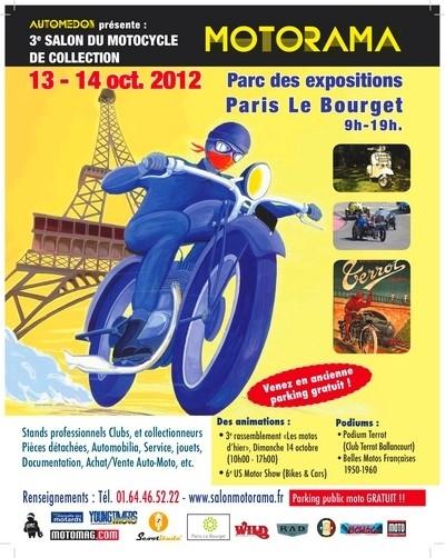 3ème Motorama au Bourget les 13 et 14 octobre 2012 lors du salon Automedon : la moto prend ses quartiers…
