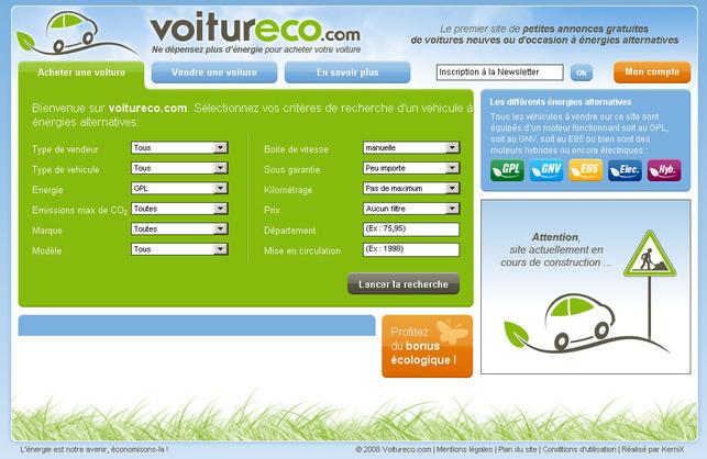 La mise en ligne d'annonces d'autos neuves ou d'occasion à énergies alternatives : voitureco.com