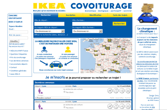 Un service de co-voiturage gratuit proposé par IKEA France