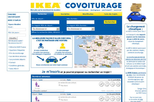 Un service de co-voiturage gratuit proposé par IKEA France