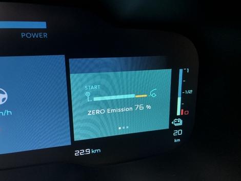 Lors de notre test, réalisé exclusivement en mode hybride, nous avons couvert 76% entièrement électrique.