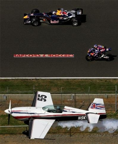Le défi Red Bull/Silverstone : Avion vs moto vs F1.