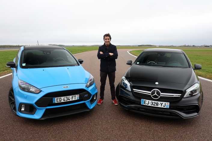 comparatif vid o les essais de soheil ayari ford focus rs vs mercedes classe a45 amg. Black Bedroom Furniture Sets. Home Design Ideas