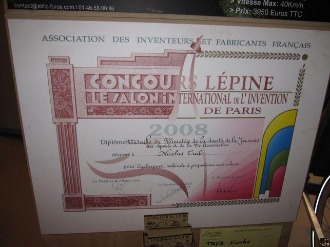 Le cyclospace un des v hicules r compens s lors du concours l pine 2008 - Foire de paris concours lepine ...