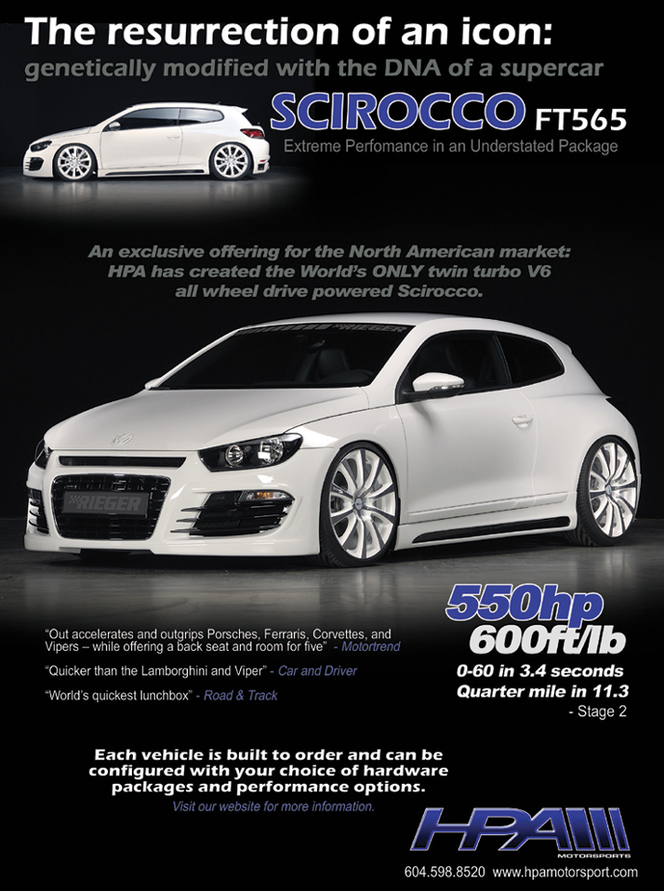 Scirocco HPA : V6 biturbo, 550 chevaux, 4 roues motrices et 150 000 dollars