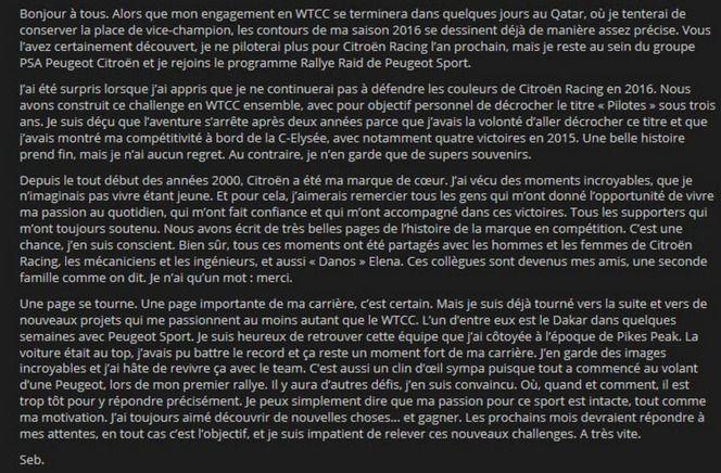 L'histoire entre Citroën et Sebastien Loeb se termine