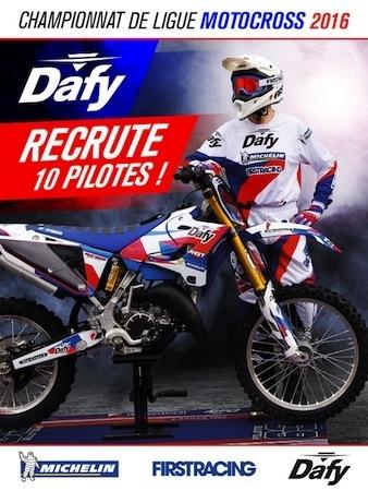 Championnat de Ligue de Motocross: Dafy sponsorisera 10 pilotes pour la saison 2016