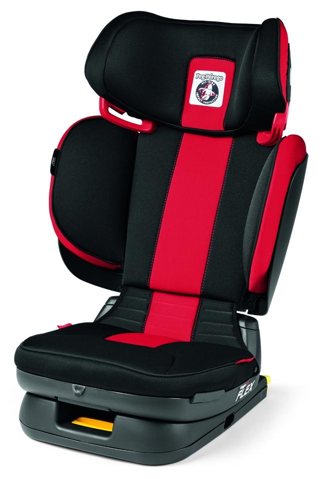 Viaggio 2-3 Flex Peg-Pérego à fixation Isofix. Entièrement repliable, le Viaggio 2-3 Flex propose 5 inclinaisons du dossier, 8 positions en hauteur, 1 largeur adaptable pour gagner jusqu'à 10cm, 5 inclinaisons du siège et 1 pliage à plat. Le tout pour assurer sécurité et confort pour les enfants de 15 à 36kg.