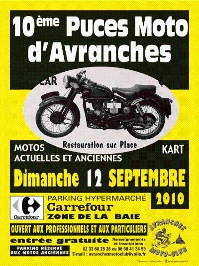 Puce moto à Avranches, près du Mont St Michel le 12 septembre