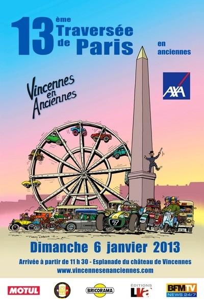 """13ème traversée de Paris organisée par """"Vincennes en anciennes"""" le 6 janvier 2013."""
