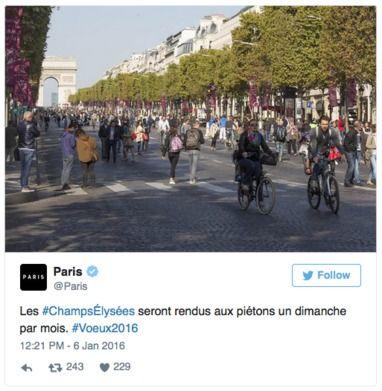 Au printemps, l'avenue des Champs Elysées sera réservée aux piétons un dimanche par mois