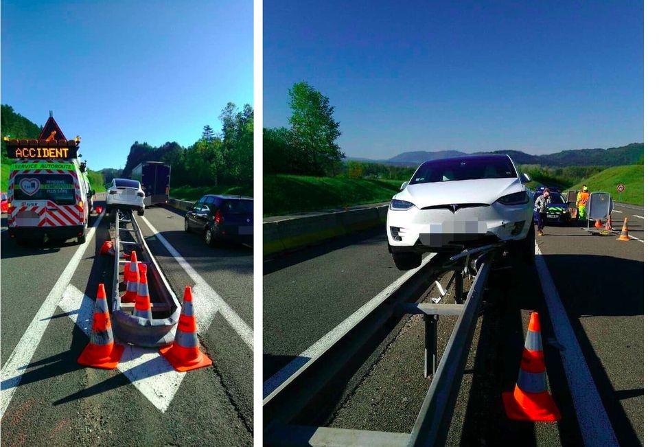 Ain: sa Tesla finit en équilibre sur une glissière de l'autoroute