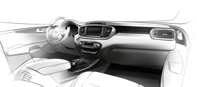 Mondial 2014 : l'habitacle du futur Kia Sorento esquissé