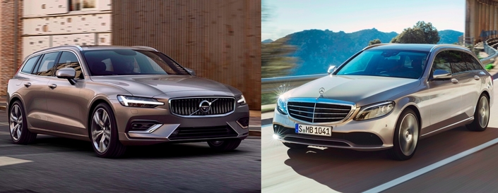 les matchs du salon de gen ve 2018 volvo v60 vs mercedes classe c break. Black Bedroom Furniture Sets. Home Design Ideas