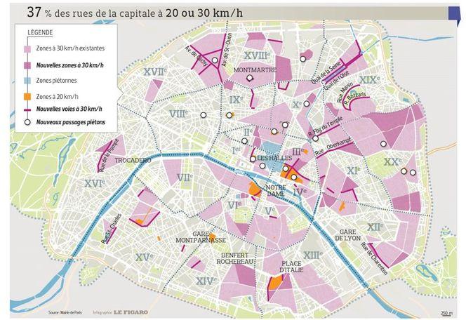 En septembre, 30% de Paris passe en zone 30, et même 20 km/h