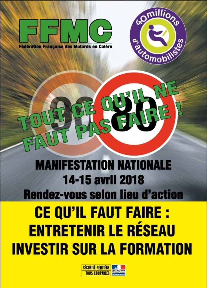 Limitation de vitesse à 80 km/h: la FFMC appelle à la manifestation les 14 et 15 avril 2018