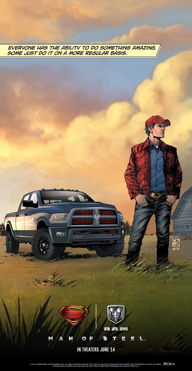 Superman roule en Dodge Ram