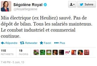 Mia Electric : Ségolène Royal annonce un peu tôt un nouveau repreneur sur Twitter