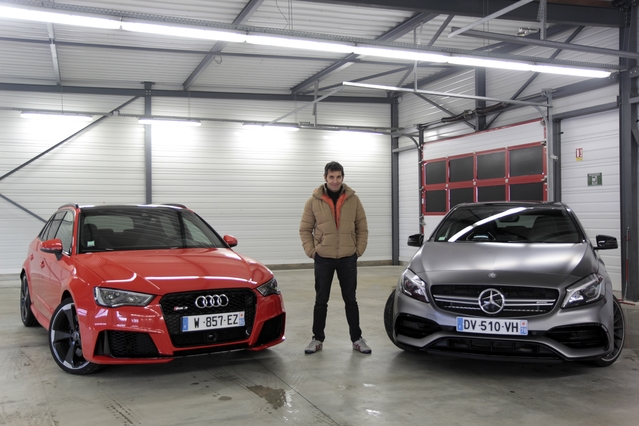 comparatif vid o audi rs3 vs mercedes a45 amg histoire. Black Bedroom Furniture Sets. Home Design Ideas