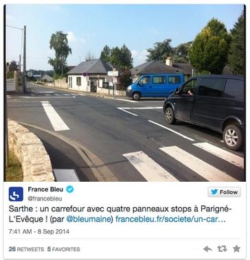 Dans la Sarthe, un carrefour à quatre stops excède les riverains
