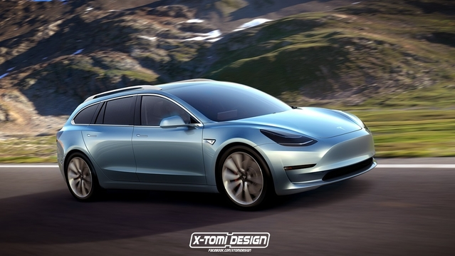 Design : un graphiste décline la Tesla Model 3 en break