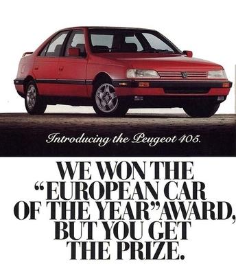 La 405 est la dernière Peugeot vendue aux Etats-Unis.