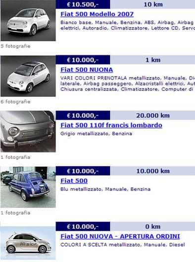 Fiat 500 : de 9950 à 12.300 euros, non officiels !
