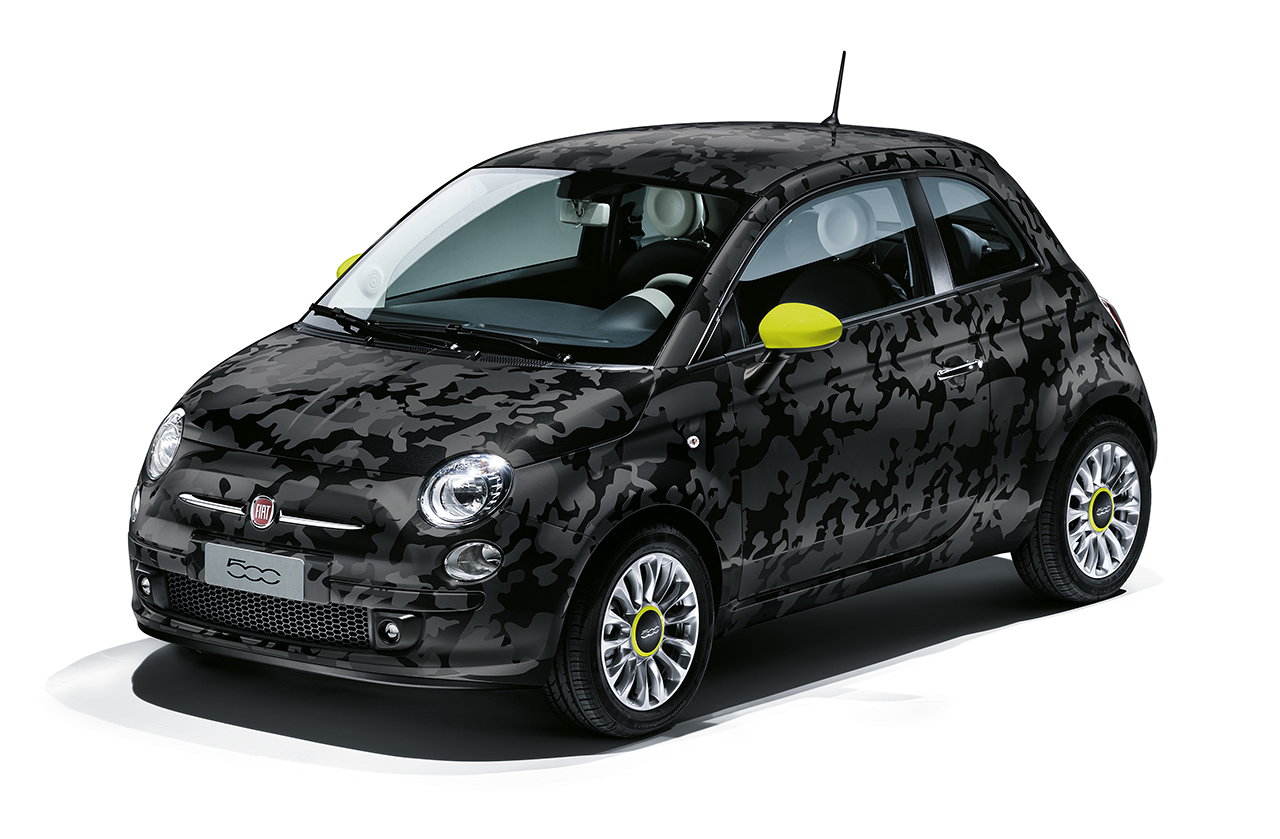 fiat pr sente les 500 couture comics et camouflage. Black Bedroom Furniture Sets. Home Design Ideas