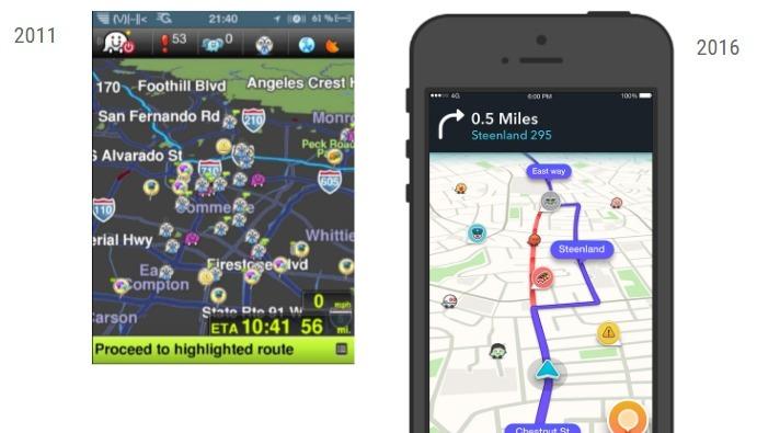 L'interface de Waze a évolué de façon spectaculaire au fils des ans.