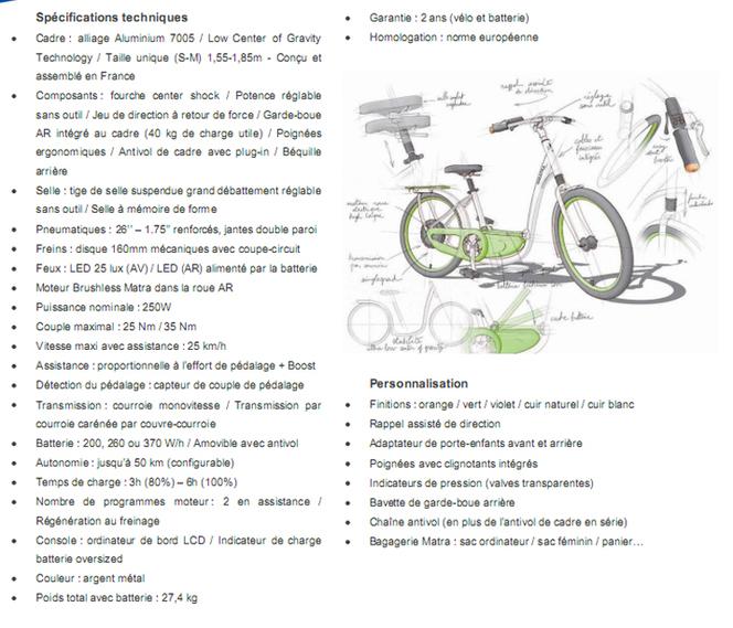 D'autres infos sur le nouveau vélo à assistance électrique Matra i-flow