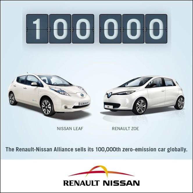 100 000 véhicules électriques de l'Alliance Renault/Nissan dans le monde