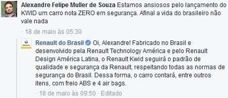 La réponse de Renault Brésil au commentaire d'un abonné sur Facebook