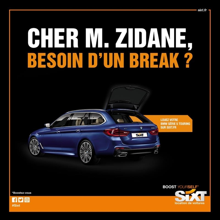 le loueur sixt offre ses services zidane pour faire un break. Black Bedroom Furniture Sets. Home Design Ideas