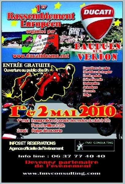 1er et 2 Mai 2010, rassemblement Européen de Ducati à Bauduen (83) : Concert, essais, feux d'artifice, balades,...