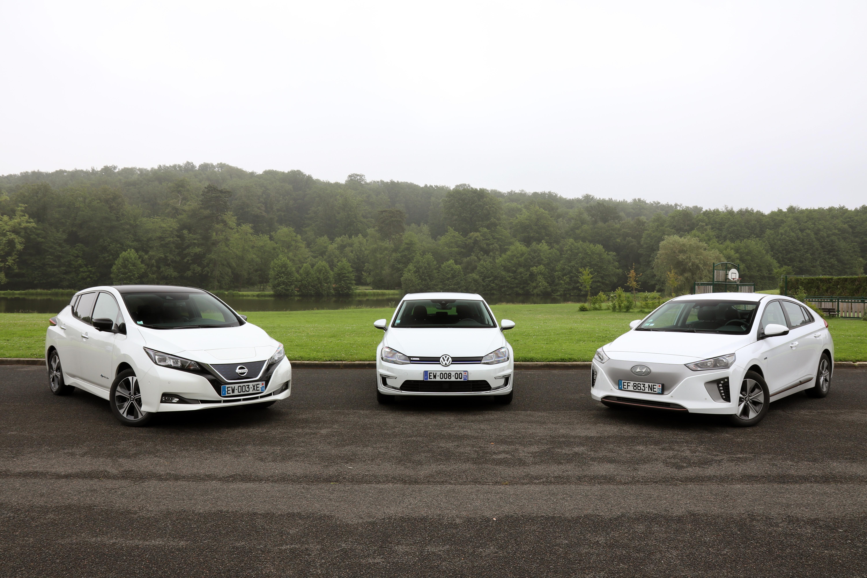Nissan Leaf vs Hyundai Ioniq vs Volkswagen e-Golf : conflit sous