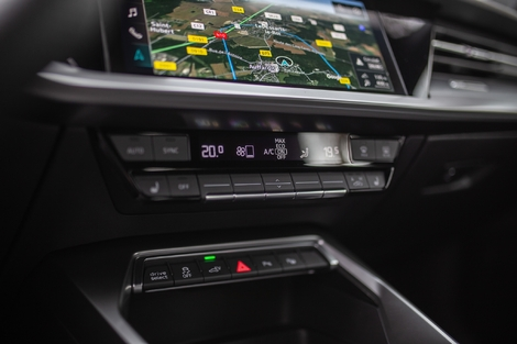 Unlike its cousins in the group, the Audi A3 retains practical physical controls for the air conditioning.