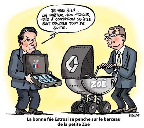 Le dessin du jour par Placide - Quand Renault prête 100 millions d'Euros à la petite Zoé !