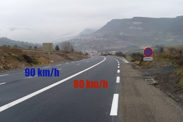Dans les créneaux de dépassement aménagés, ce sera toujours 90 km/h.