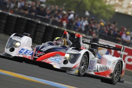 Le podium au terme des 24 Heures du Mans pour Soheil Ayari