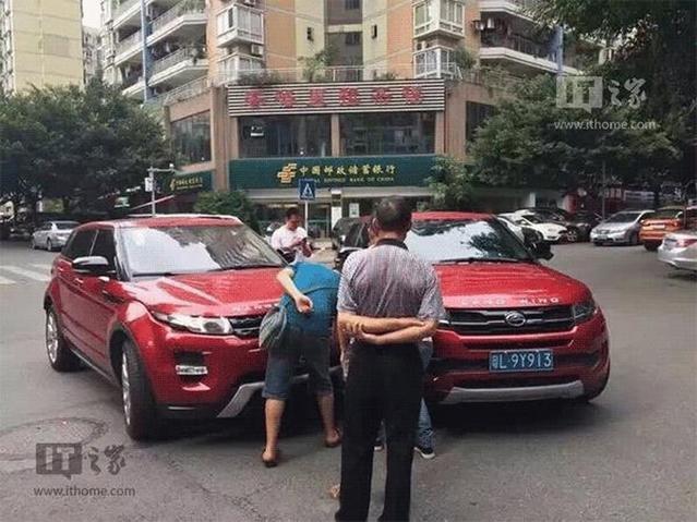 Insolite - Un accident entre un Range Rover Evoque et sa copie chinoise