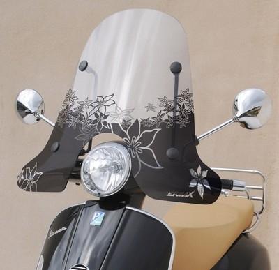 Ermax décore les pare-brise des scooters à grandes roues.