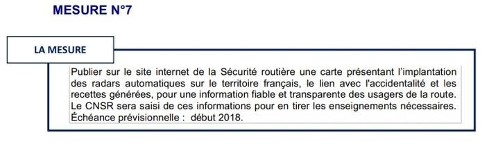 Publier sur le site internet de la Sécurité routière une carte présentant l'implantation des radars automatiques sur le territoire français, le lien avec l'accidentalité et les recettes générées, pour une information fiable et transparente des usagers de