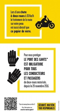"""Sécurité routière, gants obligatoires: l'opération """"rouleau abrasif sur la poignée gauche"""" se termine aujourd'hui"""