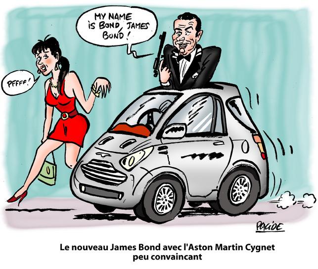 Le dessin du jour de Placide - Aston Martin présente à Genève la nouvelle voiture de James Bond