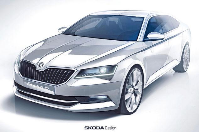 Nouvelle Skoda Superb : la voilà en dessin